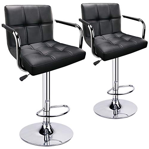 Leopard Adjustable Bar Stools with Armrest, Square Back Swivel Double Stitching with Back Bar Stool, Set of 2 (Black) Double Adjustable Bar Stool