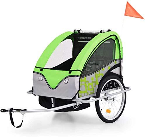Remolque para Bicicleta tipo Carro con Barra, Remolque Bicicleta Perros Mascota Plegable + Freno de Mano + Rueda Delantera Extraíble Verde y Gris, para 1 o 2 Niños de 6-36 Meses de Edad Máx. 40kg