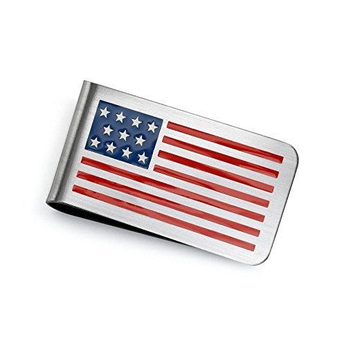 Bling Jewelry Patriotic USA American Flag Red White Blue Stars Stripes Money Clip for Men Plain Engravable Credit Card Stainless Steel