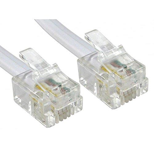 Alida Systems  Câble ADSL 5m - Supérieure Qualité / Broches de Contact Plaqué Or / Internet Haute Vitesse à Large Bande / Routeur ou Modem à la Prise Téléphonique RJ11 ou Microfiltre / Blanc