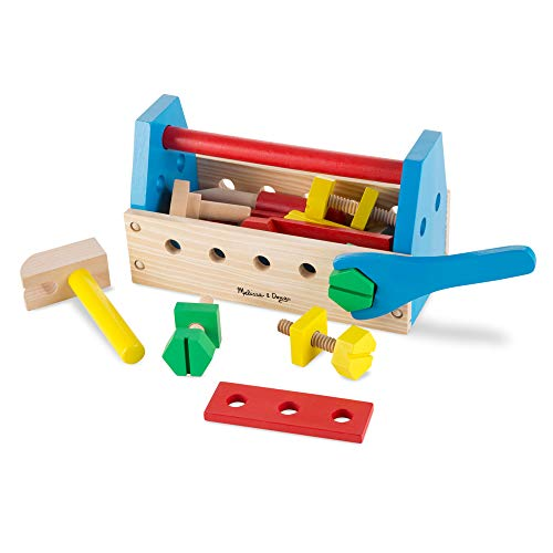 Melissa & Doug Take-Along Tool Kit Wooden Toy (Pretend Play, Sturdy Wooden Construction, 9.9' H...