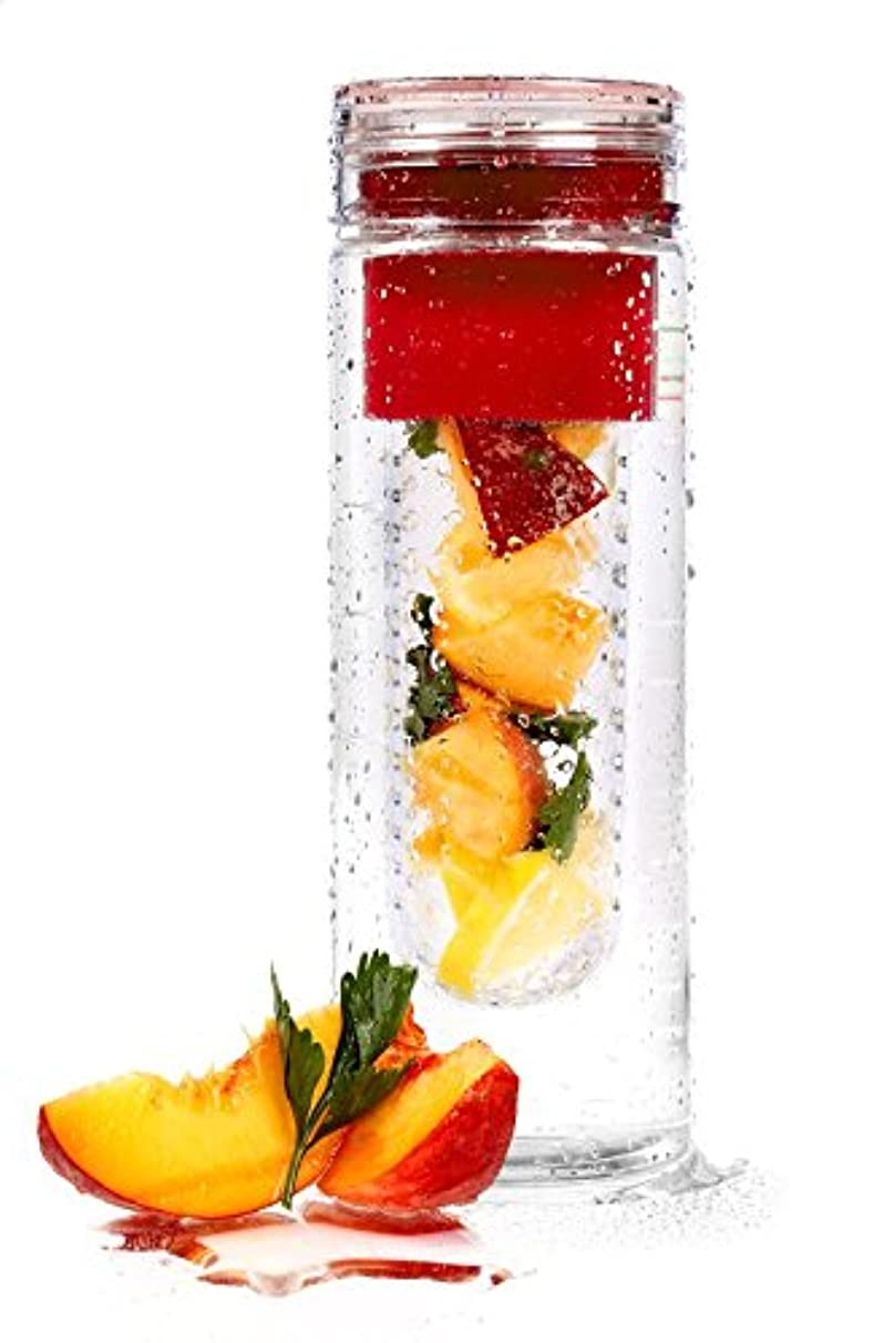 Basily Infuser Water Bottle - 28 ounce - Made with Commercial Grade Tritan - PLUS Recipe Ebook INCLUDED, Red