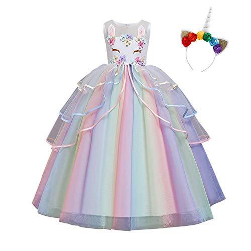 IDOPIP Disfraz de Unicornio Niñas Chicas Vestido Unicornio Princesa Traje de Carnaval Cumpleaños Comunión Cosplay Costume con Diadema Blanco 11-12Años