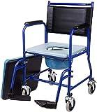 VONOYA Sedia WC con Rotelle WC Portatile per Adulti Anziani Fino a 150kg Sedia da Toilette Rimovibile con Ruote e Poggiapiedi Sedia a Rotelle con WC Integrato per Casa, Ospedale