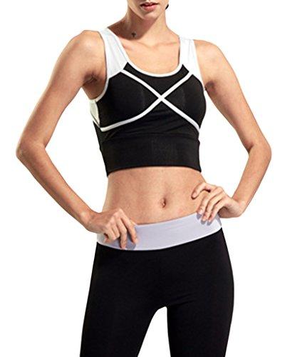 Bigood Femme Débardeur Sport Souple Soutien-Gorge sans Armature Course Yoga Brassière Taille XL