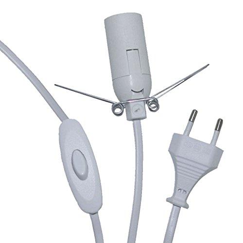 Kabel extra lang mit Schalter Fassung E14 weiß 250 cm lang für Salzlampe 4995