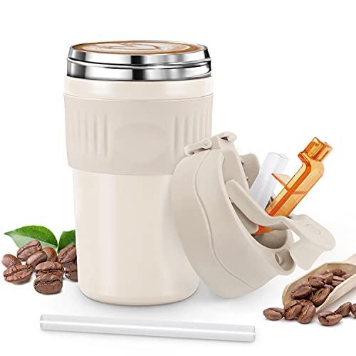 Tusenpy 480ml Taza Termico de Cafe con Pajita,Tazas Termo a Prueba de Fugas,Botella de...