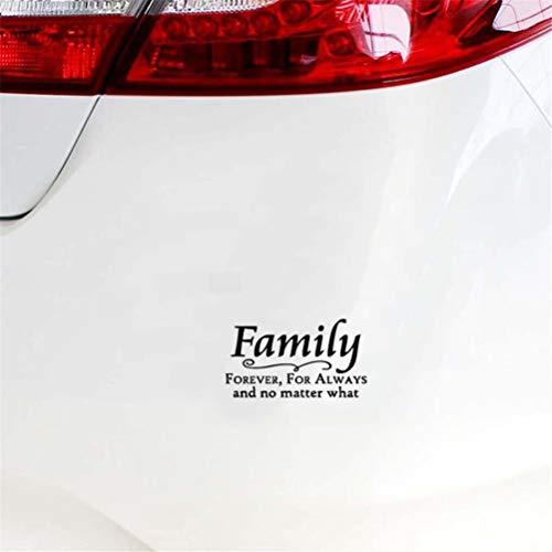 Sticker auto 15,6 cm x 8,7 cm familie voor altijd en ongeacht welke aftrekplaat-autosticker voor auto-laptop-raamsticker