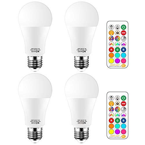E27 LED Lampe, Standardform, ersetzt 100W, Warmweiß (2700 Kelvin), 1000 Lumen, RGB Glühbirne mit Fernbedienung Farbwechsel Farbige Birne, 4er Pack