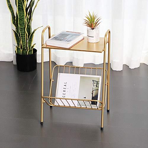 Metal Side Table, Nordic Smeedijzer Koffietafel, met tijdschriftenrek en anti-slip voet pad, 2-laags Storage kleine salontafel, voor Bedroom Living Room,Gold