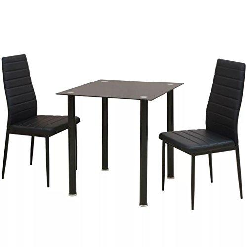Balkon Möbel Set | Bistrotisch mit 2 Stühlen | Balkonmöbel | Stahlgestell Poly-Rattan Glasplatte | Gartenmöbel Set | Schwarz
