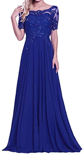 Mother of The Bride Gown Chiffon Lace Appliques Evening Party Dresses Royal Blue US20W product image