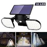 OUSFOT Luz Solar Exterior 56 LED Foco Solar con Sensor de Movimiento Lámpara Solar de Seguridad...