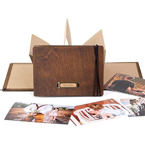 Holzalbum Scrapbook klappbares Kraftkarton Fotoalbum für Bilder 10cm x 15cm Album zum selbst personalisieren Vintage & Rustikal Geschenkalbum Hochzeit, Geburt, Reisen
