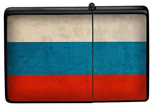 Feuerzeug Benzinfeuerzeug Sturmfeuerzeug Metallfeuerzeug in Farbe Schwarz Russland Flagge