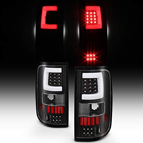 For 2004 2005 2006 2007 2008 Ford F150 LED Tube Black Tail Lights Brake Lamps Replacement Set