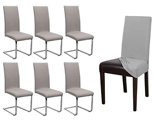 BEAUTEX 6er Set Jersey Stuhlhusse, elastische Stretch Husse Baumwolle Bi-Elastic, Farbe wählbar (Stein)
