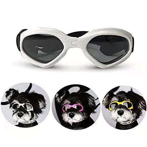Gafas de Sol para Perros,Gafas de Perro Mascotas,Ajustables para Gafas Perros, Gafas Perros Protección UV con Protección Impermeables para Perros pequeños y medianos-blanco