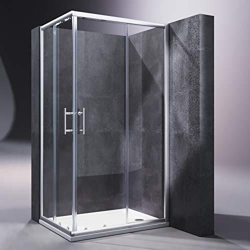 SONNI Duschkabine/Duschabtrennung 100x80cm Eckeinstieg mit Duschwanne Doppel Schiebetür Echtglas