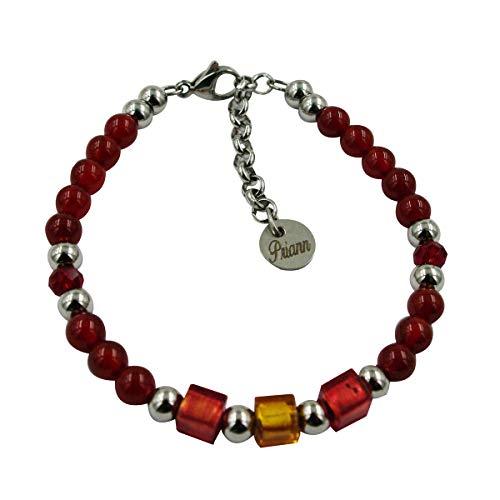 Priann Gioielli - Pulsera para hombre de acero inoxidable, con piedras duras y perlas de cristal de Murano original, con hoja de oro de 24 quilates o plata 925. Fabricada en Italia AGATA ROSSA