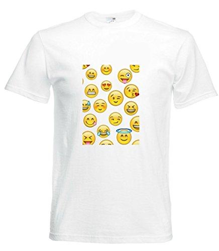 Camiseta con diseño de Ojos de corazón, caritas sonrientes en Blanco para Hombre y Mujer, Talla S- 5XL Blanco para Hombre Talla : Large
