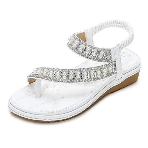 Las nuevas sandalias para mujer perla diamante sandalias planas mujeres talón abierto sandalias planas sandalias mujer zapatos de playa casual zapatos princesa zapatos blancos, 41
