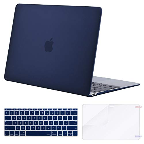 MOSISO Plastic Hard Shell Case & Keyboard Cover Skin & Screen Protector Compatible with MacBook 12 inch with Retina Display (Model A1534, Release 2017 2016 2015), Navy Blue