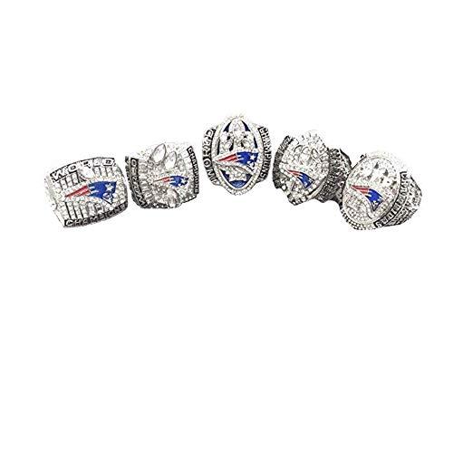 Patriots 5PC Official Design Super Bowl Replica Ring Set Size 11 W/Box Product Name