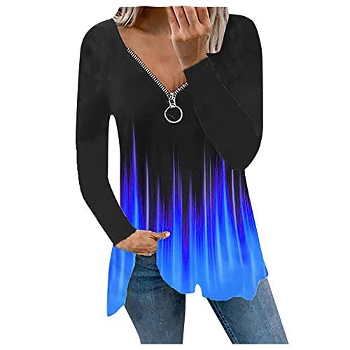 Briskorry Damen Elegant Oberteile Flamme Drucken V-Ausschnitt Tee Tops Teenager Mädchen Hemd Reißverschluss Sport Bluse Basic Tunic Tunika Sweatshirt Jumper Shirt