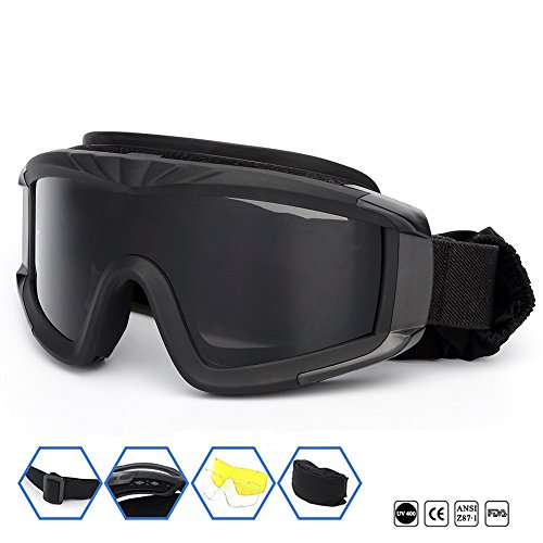 Outdoor Sports Military Airsoft Tactical Goggles with 3 Interchangable Lens Impact resistance Hunting Eyewear, UV400 Protection Shooting Glasses for Men Women Motorcycle Riding Wargame Paintball Black