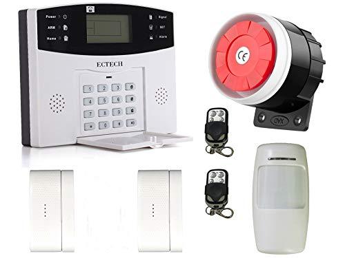 ECTECH Kits de seguridad,GSM Sistemas de seguridad para el hogar con 1 sensor de movimiento PIR y 2 Controles Remotos,2 sensores de Puerta de Ventana,1 Sirena