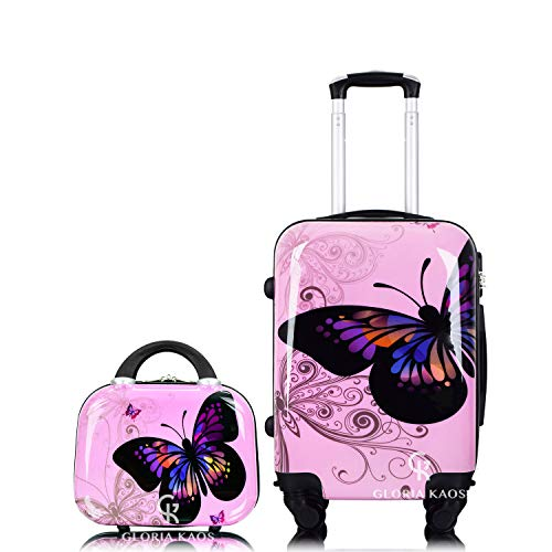 Gloria Kaos – Set bis – Ultralight Flexible Polycarbonate Case for Hand Luggage (Mariposa Pink 50 cm + Vanity Case Mini)