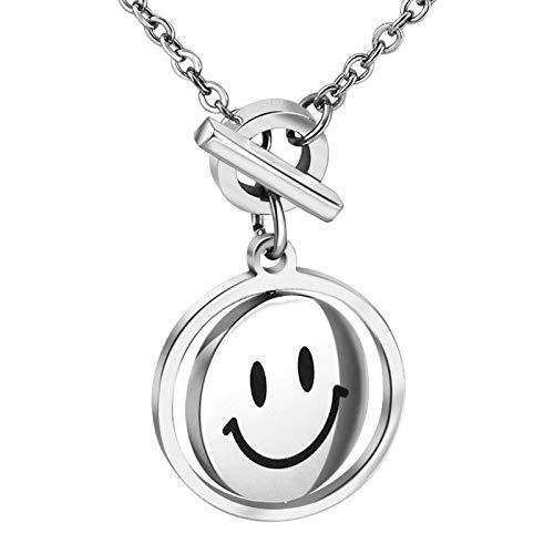 Halskette Smiley Anhänger Gold Emoji Happy Anhänger Good Luck Dicke Kette und Edelstahl Mode Schmuck Geschenk (Type1)