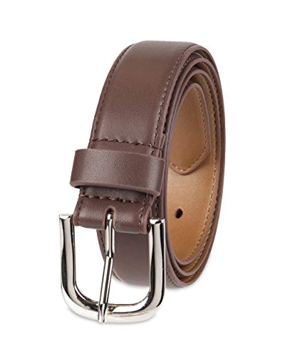 Amazon Essentials Women's Casual Skinny Jean Belt with Single Prong Buckle, Brown, Large