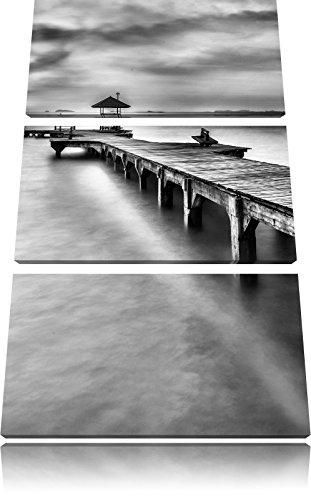 Pier met klein paviljoenFoto Canvas 3 deel | Maat: 120x80 cm | Wanddecoraties | Kunstdruk | Volledig gemonteerd