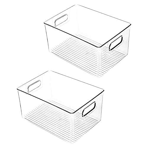 DealMux - Armario de cocina de plástico de 2 piezas, frigorífico o congelador, armario para comestibles o estanterías para libros con asas, organizador para aperitivos