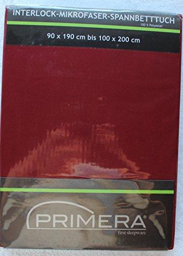 Primera Interlock Mikrofaser Spannbetttuch Größe: 90 x 190 cm bis 100 x 200 cm Farbe: bordo rot Microfaser Spannbettlaken