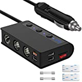 [New Version] Quick Charge 3.0 Cigarette Lighter Adapter, Qidoe 180W 12V/24V 3-Socket Car Power Splitter DC Outlet with 4 USB Ports, LED Display Voltage, Upgraded Independent Power Switch Car Charger