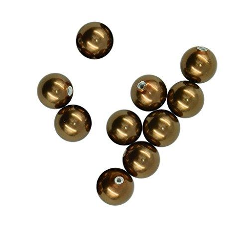 dailymall 10Pcs Halb Gebohrt Runde Süßwasser Shell Perlen Perlen Für DIY Ring - Coco Braun