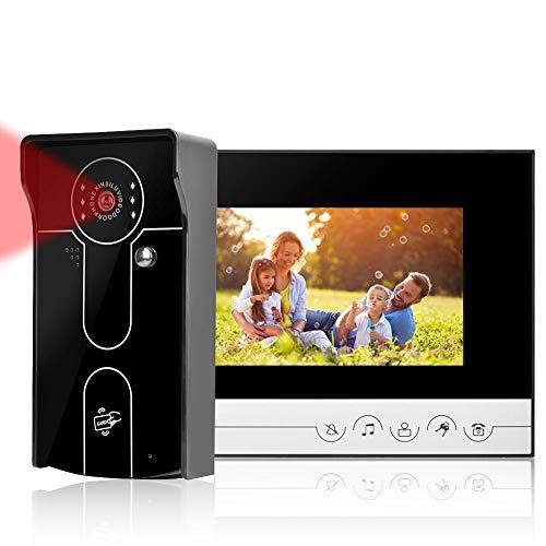 Video Türsprechanlage,7 Zoll HD Farb Intercom Türklingel, Nachtsicht, Berührungstaste, Streichen Türöffner, für Home, Villa, Büro(EU)