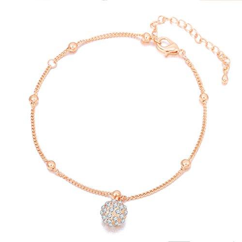 Knöchel-Armband für Damen, Fußkettchen mit Anhänger für Mädchen, verstellbar, Fußkettchen aus Gold und Silber mit Kristall Zirkonia Ball Anhänger