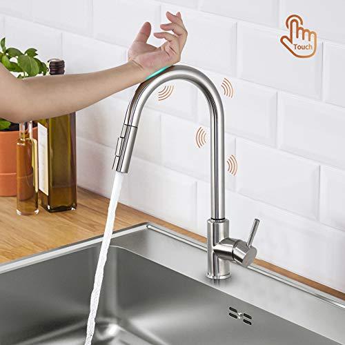 Lonheo Wasserhahn Küche ausziehbar Touch Sensor mit 2 Strahlarten, Edelstahl Küchenarmatur mit 360° Schwenkfunktion, Einhebelmischer Spültischarmatur Mischbatterie Hochdruck-Armatur für Küche