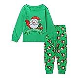 Juego de dos piezas de Papá Noel impreso manga larga pantalones impresos venta tamaño Reino Unido mejor regalo para niños