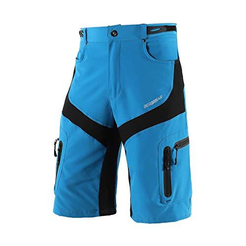 Bergrisar Herren-Radhose, MTB, Mountainbike, Fahrrad-Shorts, Reißverschluss, Taschen, 1806BG - Blau - Groß