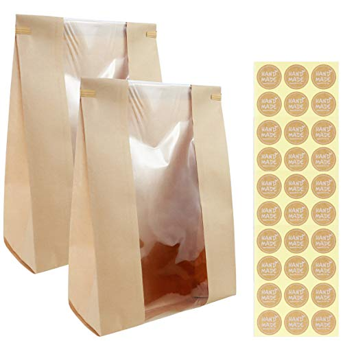 Twdrer 50 Pack Large Kraft Paper Bread Loaf Bag with Clear Front Window,Tin Tie Tab Lock Brown Bakery Coffee Cookie Treat Packaging Bags with 60 PCS Label Seal Stickers(14' x 8.3' x 3.5')