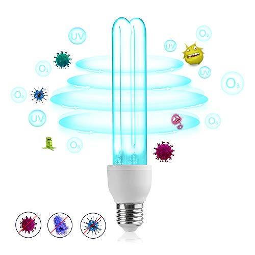Bonlux 25W E27 UVC Bombilla Germicida con Ozono para Lugares menos de 40㎡, Profesional Esterilización Ultravioleta Desinfección Germicida Doméstica, Lámpara de Ozonizador Doméstico
