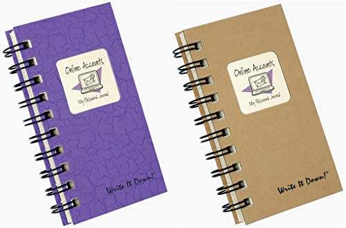 Internet Username and Password Organizer Book Set | 2 Small Pocket Size Journals for Computer, Online Website, Email Login and Passwords Storage | Alphabetical Notebooks (120 Pages each)