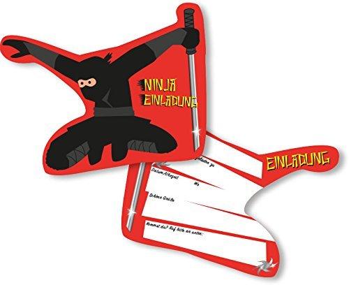 DH-Konzept 6 Einladungskarten * Ninja * für Kindergeburtstag oder Party Kinder Geburtstag Party Einladung Einladungen Karten Mottoparty Kämpfer Fighter