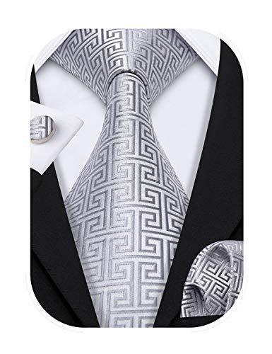 Barry.Wang - Corbatas formales para hombre, de seda con pañuelo y gemelos, para bodas negocios. Plateado Plata 484 Talla única