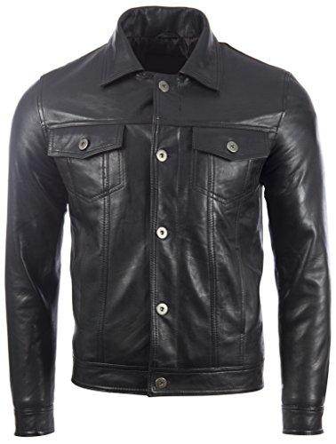 Aviatrix Herren Echtleder Klassische Mode Harrington Jacke (KUIG)
